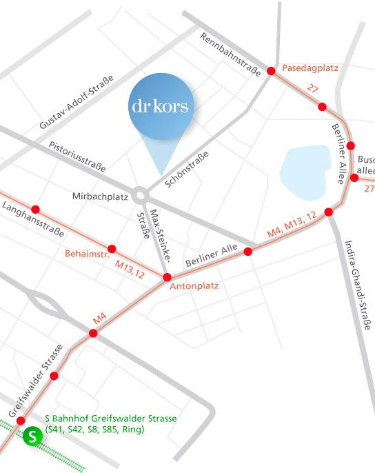 Kontakt Anfahrtsskizze Hautarzt Karte Praxis Dr. Kors